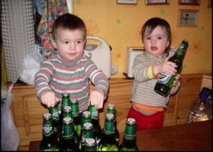 babies with beer bottles picture